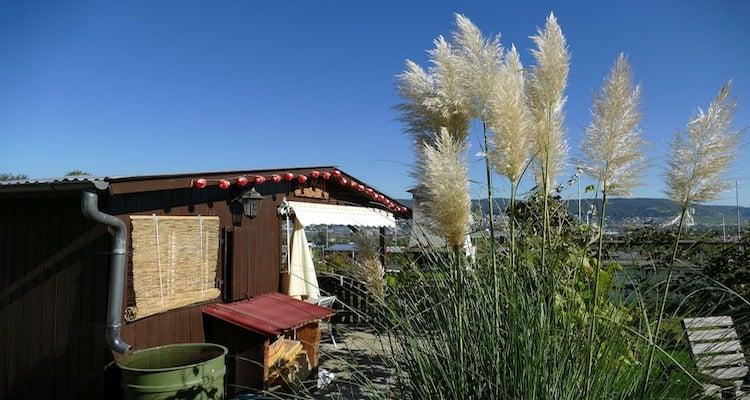 Gartenhaus mit Regentonne