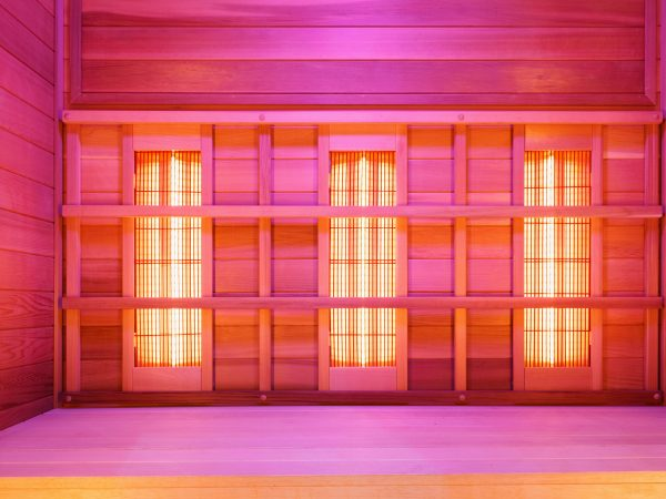 Infrared empty classic wooden sauna to improve health