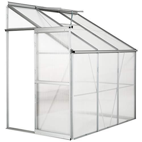 TecTake Aluminium Beistell-Gewächshaus 4,09 m³ Gartengewächshaus Treibhaus Frühbeet - Diverse Modelle - (192x128x202cm ohne Fundament | Nr. 402470)