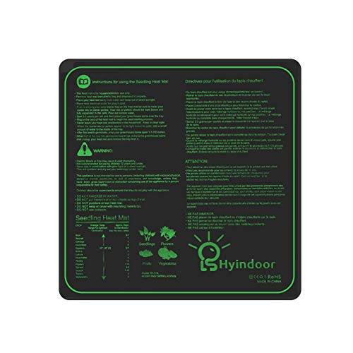 Hyindoor Heizmatte Wärmematte für Sämling Germination wasserdichte Hydroponische Heizkissen Gewächshaus Pflanzen Wachstum, 50.8 x 50.8cm, 45 W