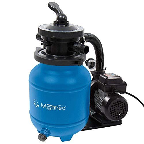 Miganeo® Speed Clean 7000 Sandfilter mit Zeitschaltuhr für Pool bis 22m³ selbstsaugend (Blau)