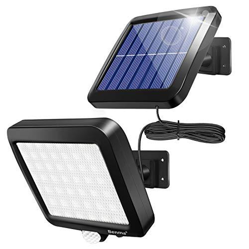 Solarlampen für Außen, 56 LED Solarleuchten mit Bewegungsmelder, IP65 Wasserdichte, 120° Beleuchtungswinkel Aussenleuchte mit 16.5ft Kabel