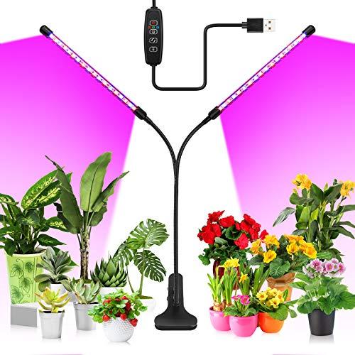 20W LED Pflanzenlampe, KOOSEED 40LEDs Pflanzenlicht mit 3 Licht Modus, 10 Helligkeitsstufen und Zeitschaltuhr, 360°Einstellbar Grow Lampe Wachstumslampe Vollspektrum Pflanzenleuchte für Zimmerpflanzen