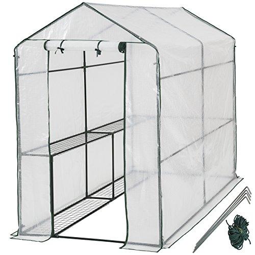 TecTake 401861 Gewächshaus mit Plane und 4 Metallablagegittern, schützt Pflanzen vor Kälte, Regen und Frost, 186 x 120 x 190 cm