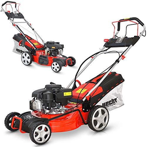 HECHT 5-IN-1 Benzin Rasenmäher – leistungsstarker 4 Takt Eco Motor - Mit Radantrieb – Elektrostart – 46 cm Schnittbreite – bis 1200m² – patentierte Räder mit Extra Grip – Mulchmäher, Rasenmäher Benzin