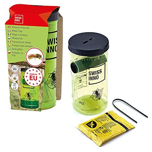 SWISSINNO Wespenfalle Set inkl. Köder, giftfrei, 1 Stück - mit aktivem Bienenschutz, gelb