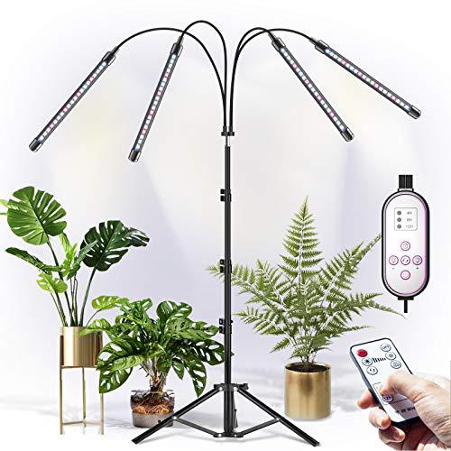 CXhome Vollspektrum LED Pflanzenlampe mit Ständer, RF-Fernbedienung & Zeilengesteuerte Timing 4/8/12H, 4 Schaltmodi &10-stufige Helligkeit, Stabiles verstellbar 40-150cm, Für Zimmerpflanzen
